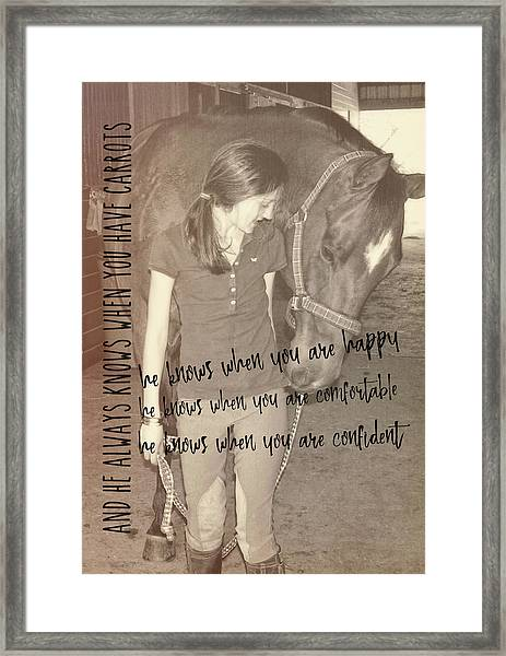 Where's My Carrot? Quote Framed Print
