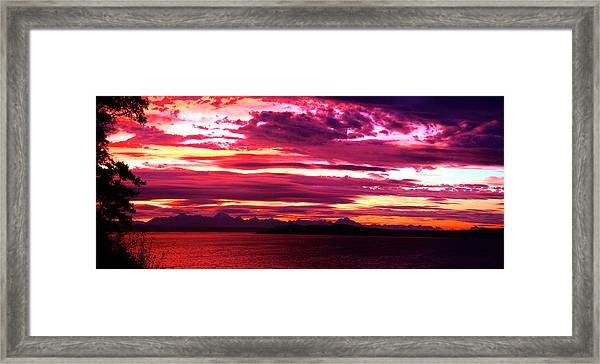 Whidbey Red Sky Morning Framed Print by Mary Gaines