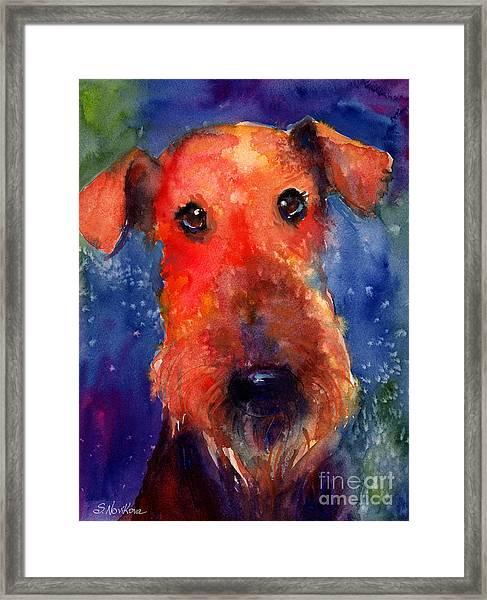 Whimsical Airedale Dog Painting Framed Print