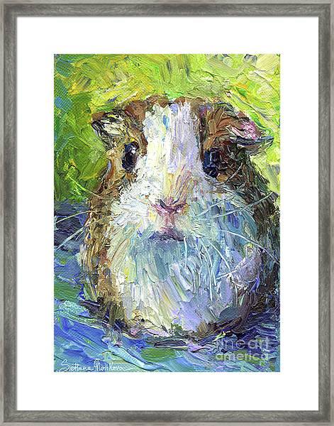 Whimsical Guinea Pig Painting Print Framed Print