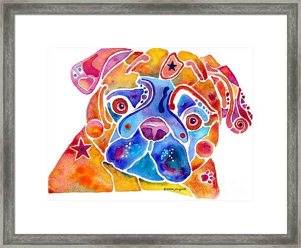 Whimsical Pug Dog Framed Print