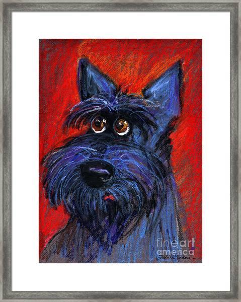 whimsical Schnauzer dog painting Framed Print