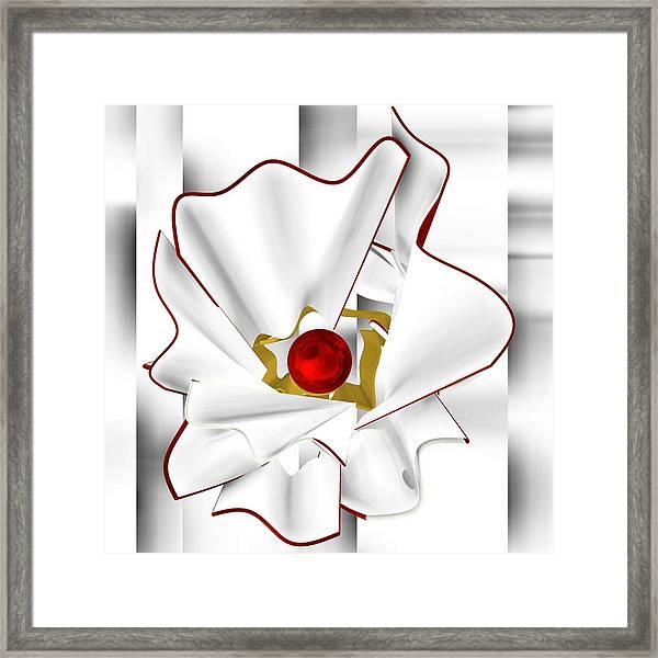 White Abstract Flower Framed Print