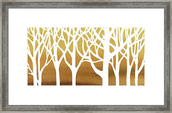 White Abstract Forest Beige Background Interior Decor Elongated Framed Print