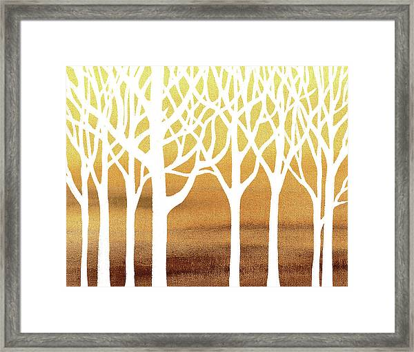White Abstract Forest Beige Background Interior Decor Framed Print