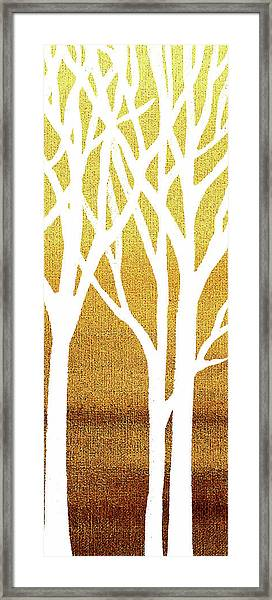 White Abstract Forest Beige Background Triptych B 3of3  Framed Print