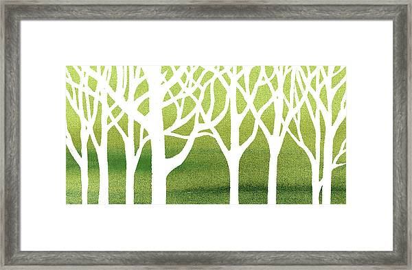 White Abstract Forest Green Background Interior Decor Elongated  Framed Print