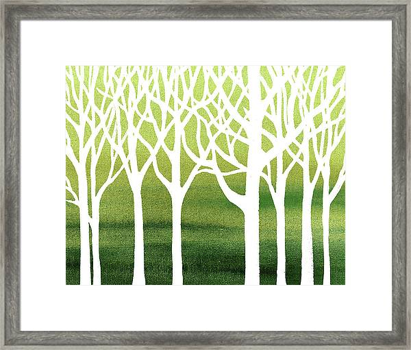 White Abstract Forest Green Background Interior Decor Framed Print
