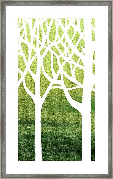 White Abstract Forest Green Background Triptych A 2of3  Framed Print
