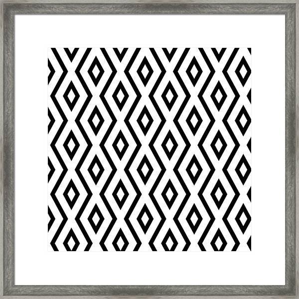 White And Black Pattern Framed Print