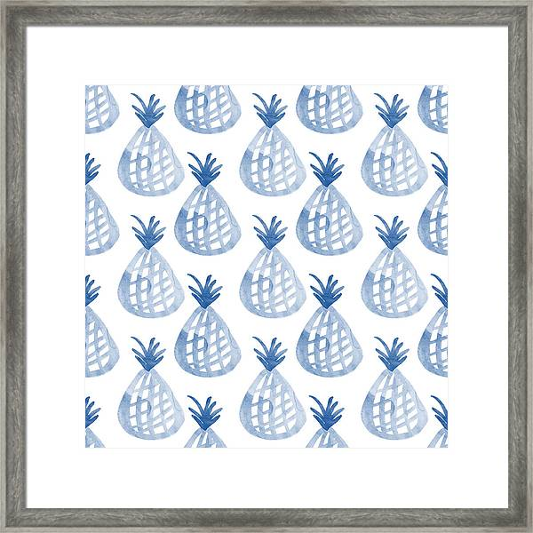 White And Blue Pineapple Party Framed Print