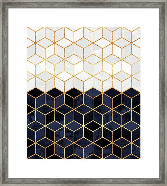 White And Navy Cubes Framed Print