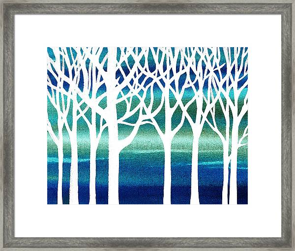 White And Teal Forest Framed Print