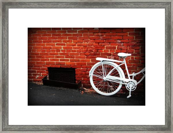 White Bike On Red Brick Framed Print