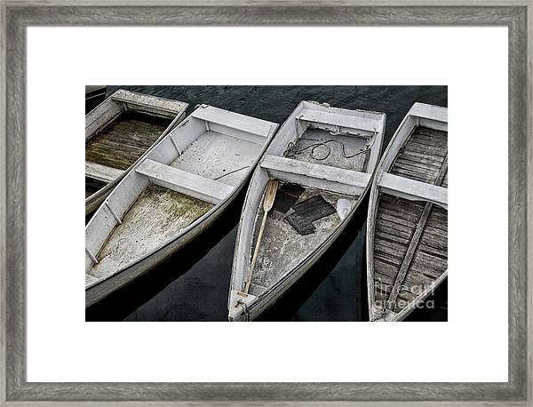 White Boats Framed Print