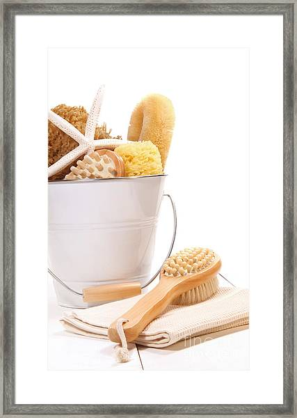 White Bucket Filled With Sponges And Scrub Brushes  Framed Print
