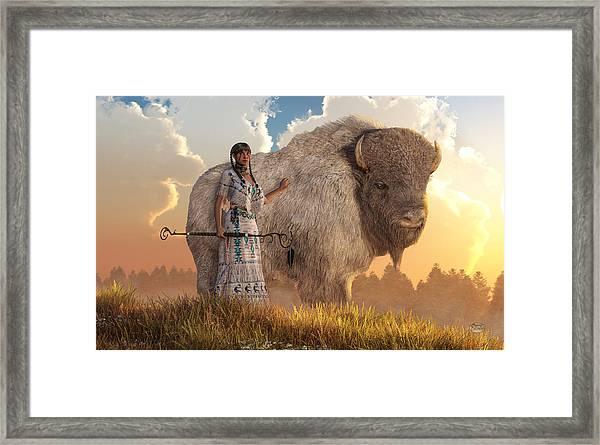 White Buffalo Calf Woman Framed Print