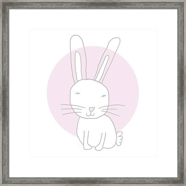 White Bunny On Pink- Art By Linda Woods Framed Print