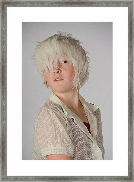 White Feather Wig Girl Framed Print