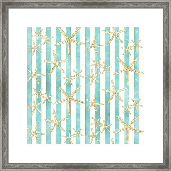 White Finger Starfish Watercolor Stripe Pattern Framed Print