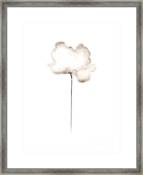 White Flower Minimalist Painting Framed Print