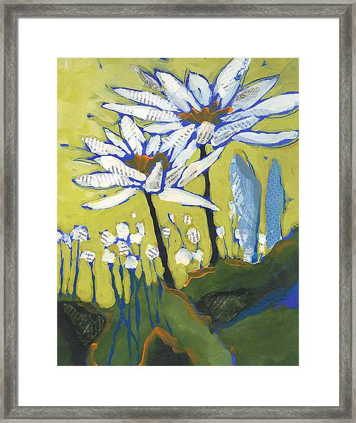 Framed Print featuring the painting White Flowers by Shelli Walters