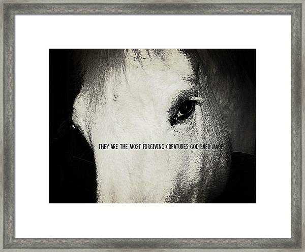 White Grey Quote Framed Print
