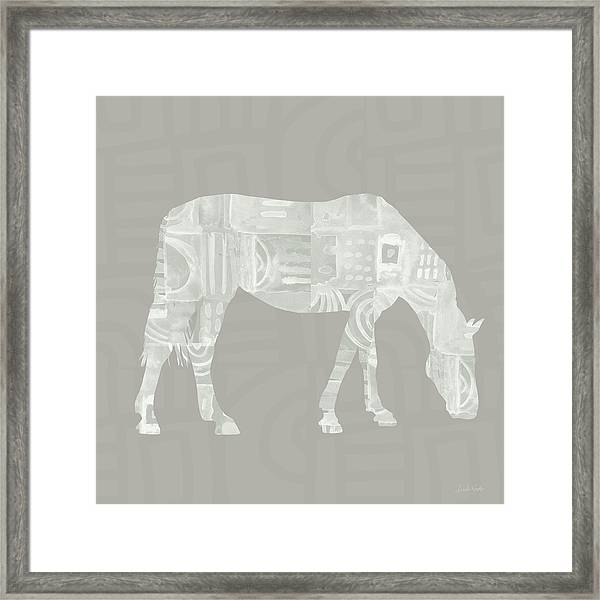 White Horse 2- Art By Linda Woods Framed Print