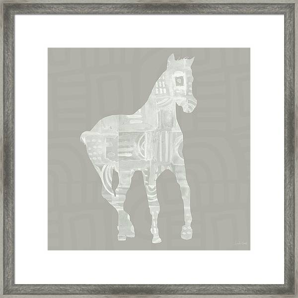 White Horse 3- Art By Linda Woods Framed Print
