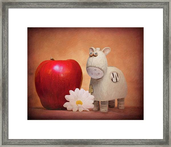 White Horse With Apple Framed Print