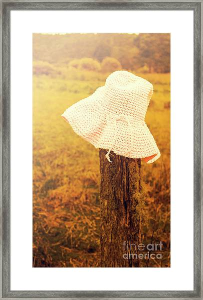 White Knitted Hat On Farm Fence Framed Print