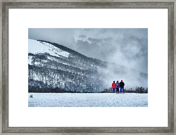 White Landscape In The Frozen Paradise In The Argentine Patagonia Framed Print