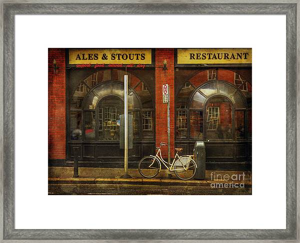 White Leopard Bicycle  Framed Print