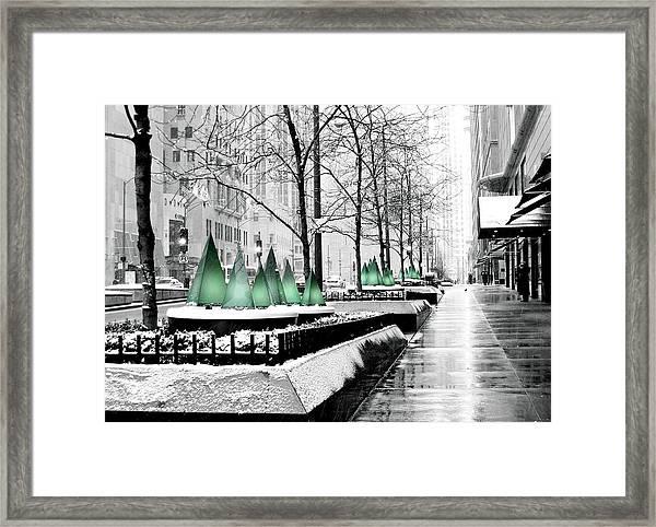 White Mag Mile Christmas Framed Print