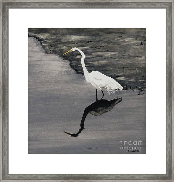 White On Gray Framed Print by Carla Dabney