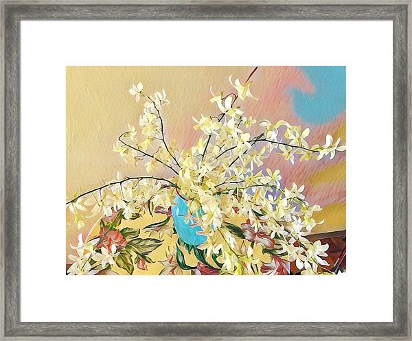 White Orchid Bouquet Pink/blue Framed Print