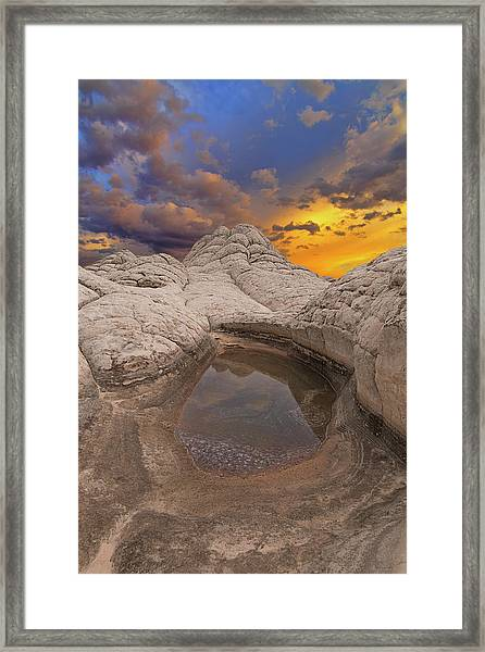 White Pocket Sunset Framed Print