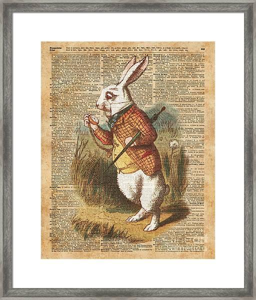 White Rabbit Alice In Wonderland Vintage Art Framed Print