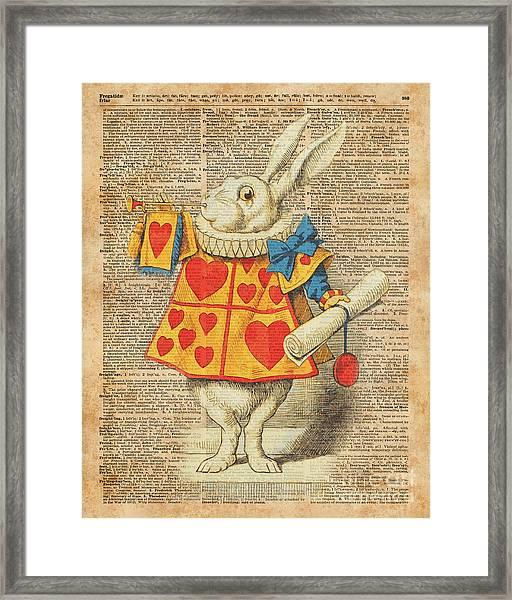 White Rabbit With Trumpet Alice In Wonderland Vintage Dictionary Artwork Framed Print