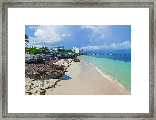 White Sandy Beach Of Cancun Framed Print