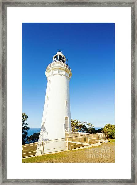 White Seaside Tower Framed Print