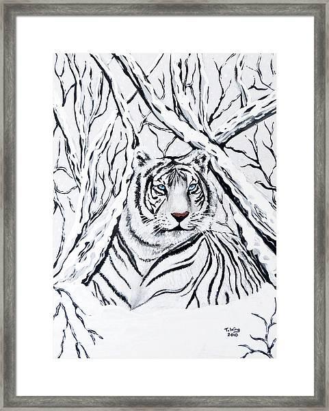 White Tiger Blending In Framed Print