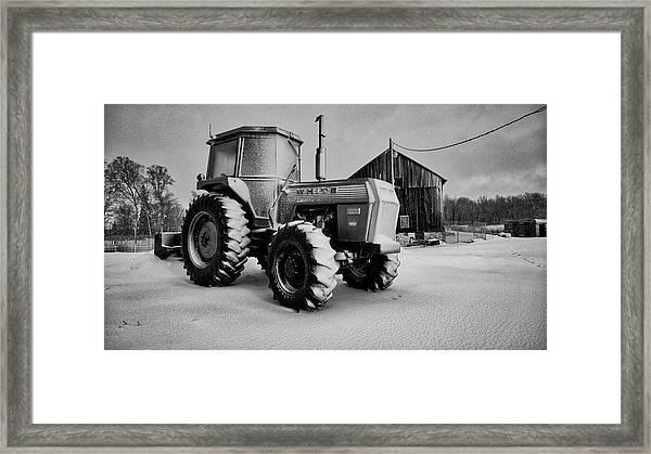 White Tractor Framed Print