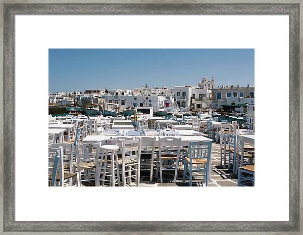 Framed Print featuring the photograph Whitewashed Naoussa by Lorraine Devon Wilke