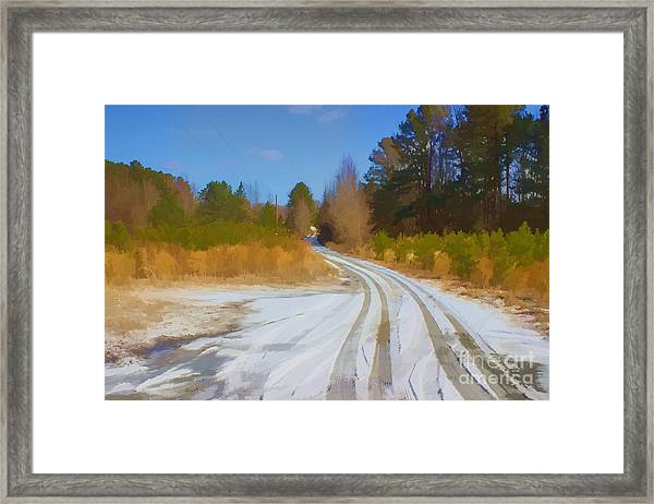 Snow Covered Lane Framed Print