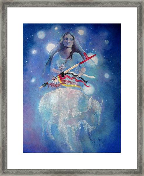 Whtie Buffalo Woman From The Pleiades Framed Print by Pamela Mccabe