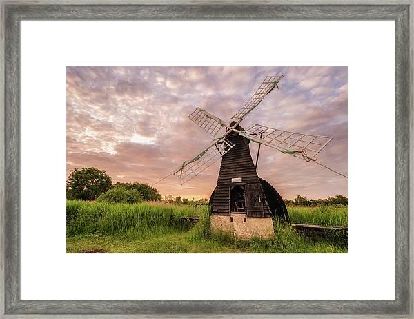 Wicken Wind-pump At Sunset II Framed Print
