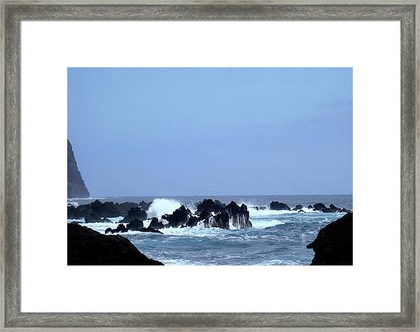 Wild Sea In Madeira Framed Print