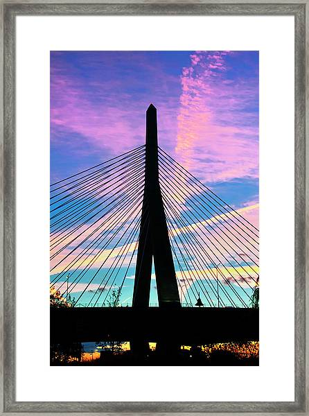 Wild Sunset Over The Zakim Bridge - Boston Framed Print