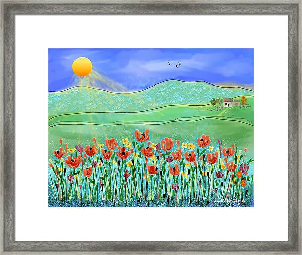 Wildflowers In The Sun Framed Print